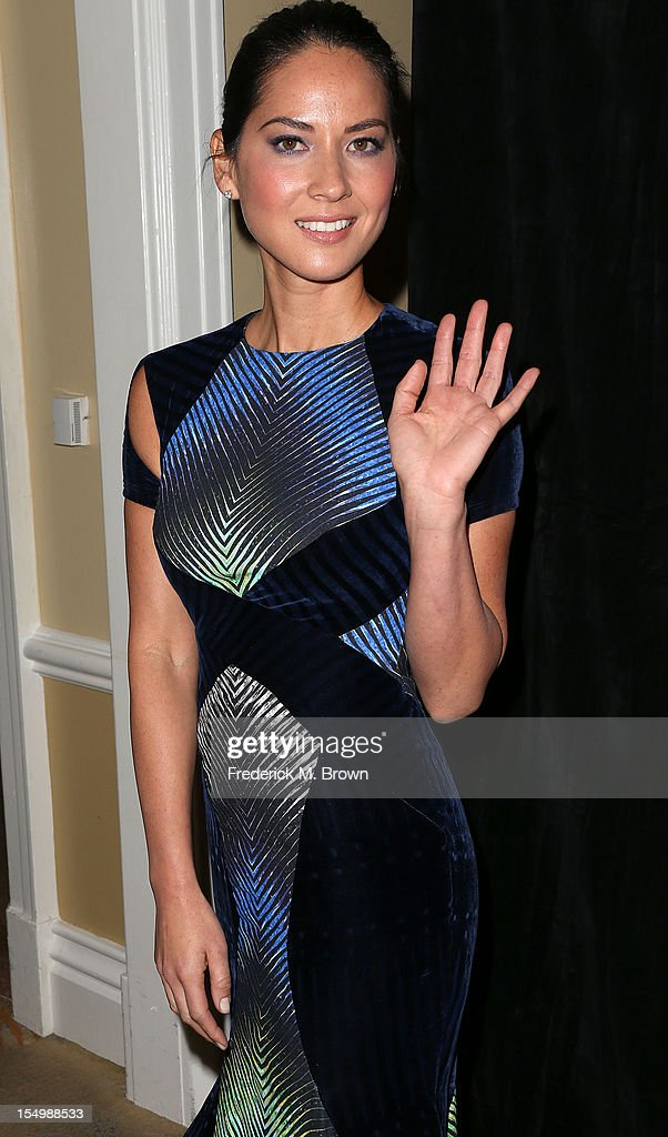Actress <a gi-track='captionPersonalityLinkClicked' href=/galleries/search?phrase=Olivia+Munn&family=editorial&specificpeople=598969 ng-click='$event.stopPropagation()'>Olivia Munn</a> attends the 2012 International Women's Media Foundation's Courage In Journalism Awards at The Beverly Hills Hotel on October 29, 2012 in Beverly Hills, California.