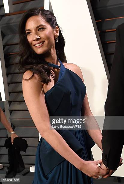Actress Olivia Munn attends the 2015 Vanity Fair Oscar Party hosted by Graydon Carter at the Wallis Annenberg Center for the Performing Arts on...