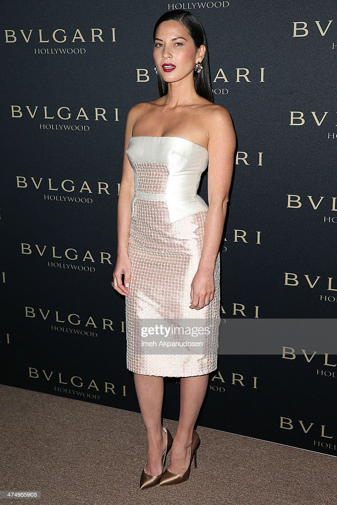 Actress <a gi-track='captionPersonalityLinkClicked' href=/galleries/search?phrase=Olivia+Munn&family=editorial&specificpeople=598969 ng-click='$event.stopPropagation()'>Olivia Munn</a> attends the BVLGARI 'Decades of Glamour' Oscar Party at Soho House on February 25, 2014 in West Hollywood, California.