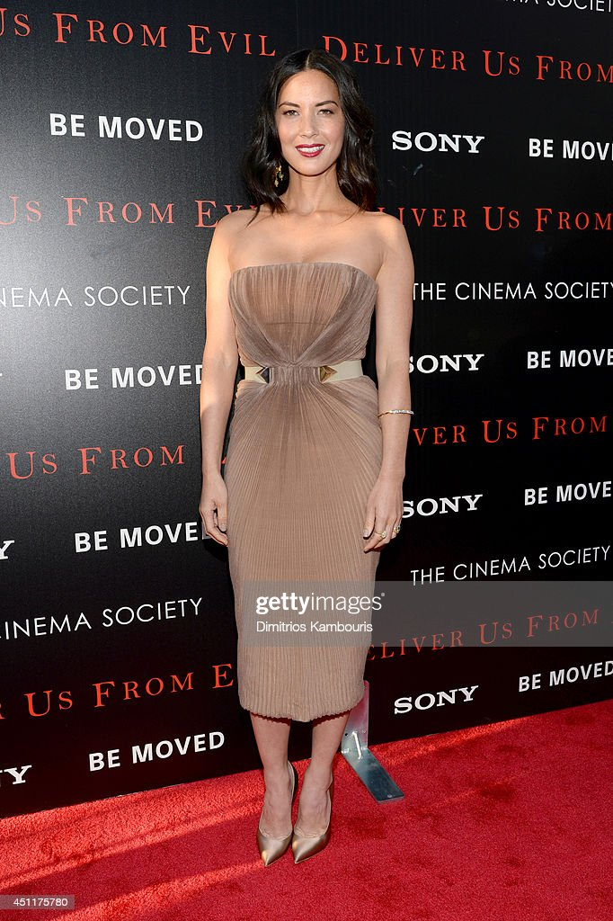 Actress <a gi-track='captionPersonalityLinkClicked' href=/galleries/search?phrase=Olivia+Munn&family=editorial&specificpeople=598969 ng-click='$event.stopPropagation()'>Olivia Munn</a> attends the 'Deliver Us From Evil' screening hosted by Screen Gems & Jerry Bruckheimer Films with The Cinema Society at SVA Theater on June 24, 2014 in New York City.
