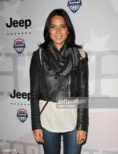 Actress Olivia Munn attends the Jeep and USA Basketball Present 'PowerFoward' partnership event at LA Center Studios on April 22 2012 in Los Angeles...