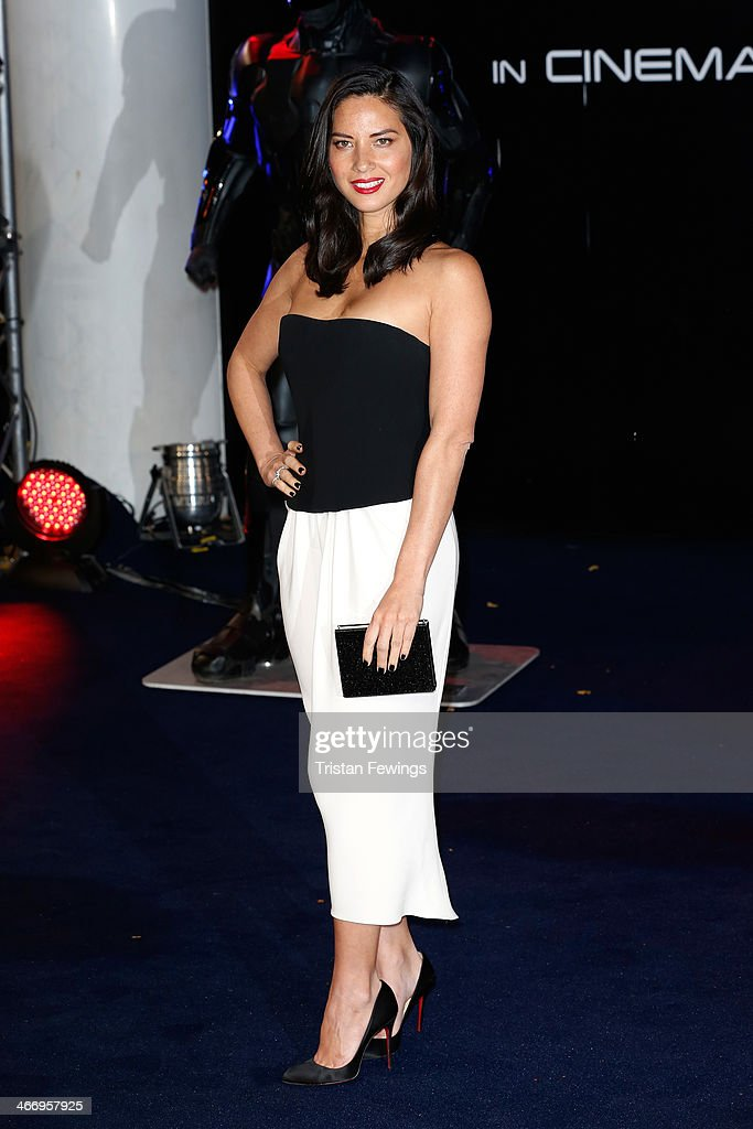 Actress <a gi-track='captionPersonalityLinkClicked' href=/galleries/search?phrase=Olivia+Munn&family=editorial&specificpeople=598969 ng-click='$event.stopPropagation()'>Olivia Munn</a> attends the World Premiere of 'Robocop' at BFI IMAX on February 5, 2014 in London, England.