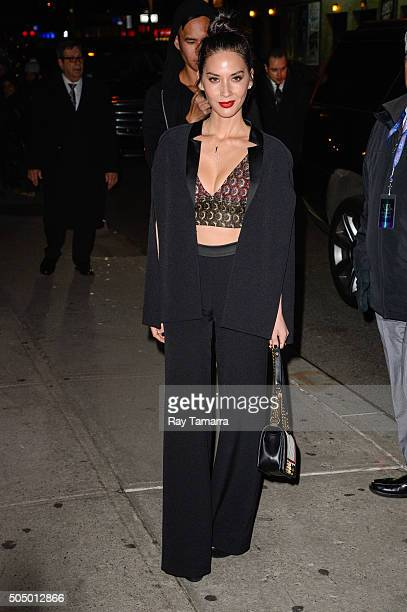 Actress Olivia Munn enters the 'The Late Show With Stephen Colbert' taping at the Ed Sullivan Theater on January 14 2016 in New York City