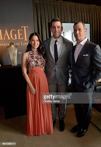 Actress Olivia Munn NFL player Aaron Rodgers and CEO of Piaget SA Philippe Leopold Metzger attend the 30th Annual Film Independent Spirit Awards at...