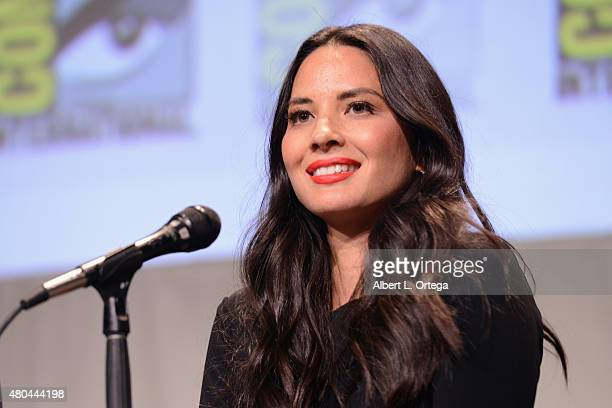 Actress Olivia Munn of 'XMen Apocalypse' speaks onstage at the 20th Century FOX panel during ComicCon International 2015 at the San Diego Convention...