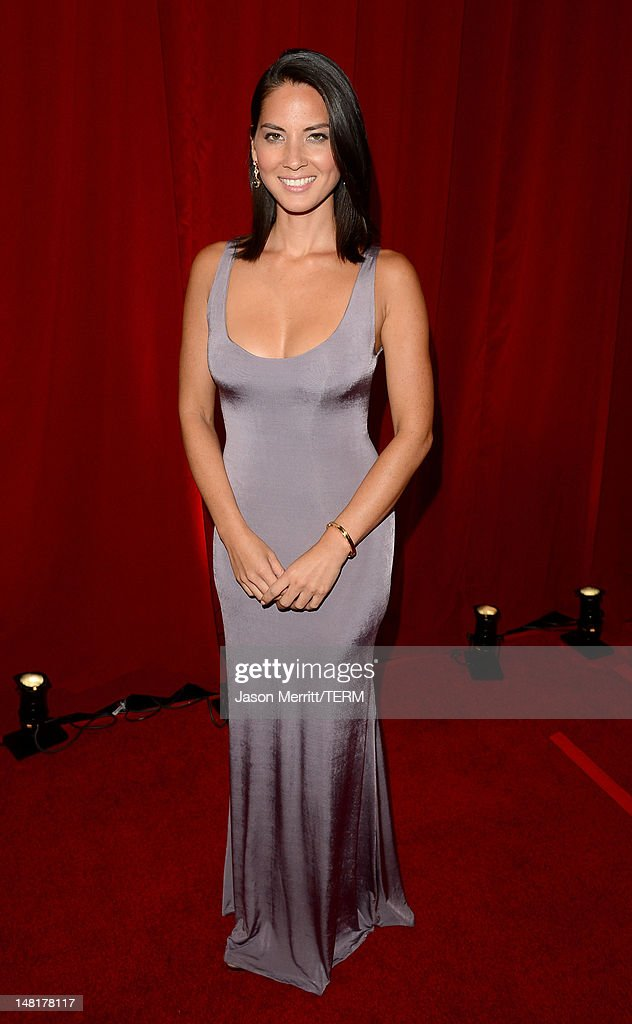 Actress <a gi-track='captionPersonalityLinkClicked' href=/galleries/search?phrase=Olivia+Munn&family=editorial&specificpeople=598969 ng-click='$event.stopPropagation()'>Olivia Munn</a> poses backstage during the 2012 ESPY Awards at Nokia Theatre L.A. Live on July 11, 2012 in Los Angeles, California.