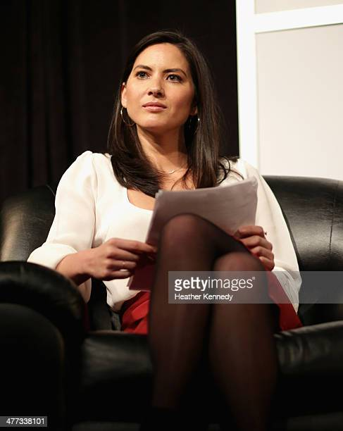 Actress Olivia Munn speaks onstage at 'Inside Late Night with Seth Meyers' during the 2014 SXSW Music Film Interactive Festivalat Austin Convention...