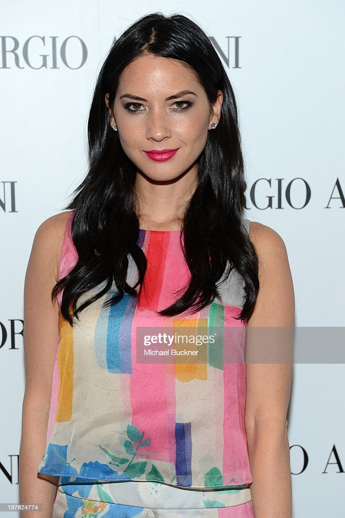 Actress Olivia Munn, wearing Emporio Armani attends the Giorgio Armani Beauty Luncheon on December 6, 2012 in Beverly Hills, California.