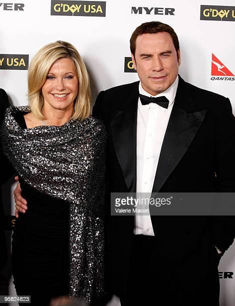 Actress Olivia NewtonJohn and actor John Travolta arrive at the Australia Week 2010 Black Tie Gala on January 16 2010 in Los Angeles California