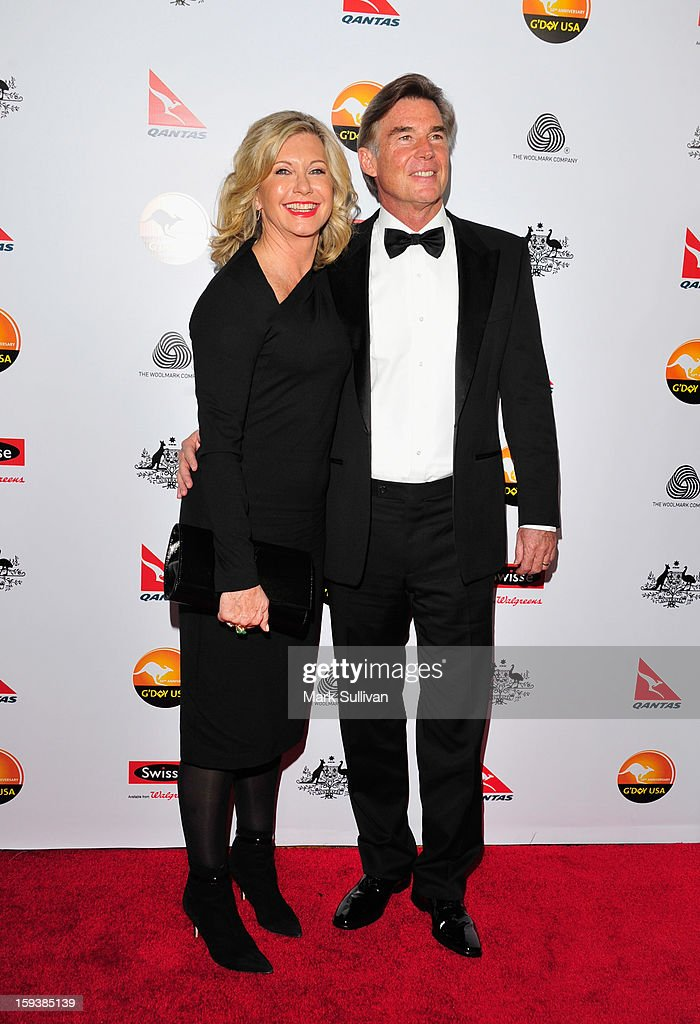 Actress Olivia Newton-John and John Easterling arrive for the G'Day USA Black Tie Gala held at at the JW Marriot at LA Live on January 12, 2013 in Los Angeles, California.