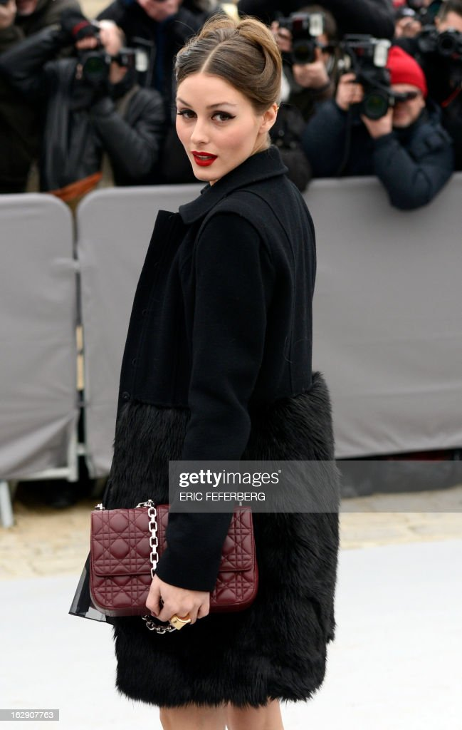 US actress Olivia Palermo arrives on March 1, 2013 to attend Christian Dior's Fall/Winter 2013-2014 ready-to-wear collection show in Paris.