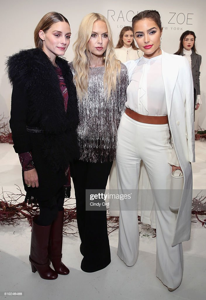 Actress, <a gi-track='captionPersonalityLinkClicked' href=/galleries/search?phrase=Olivia+Palermo&family=editorial&specificpeople=2639086 ng-click='$event.stopPropagation()'>Olivia Palermo</a>, Designer, Rachel Zoe and Actress <a gi-track='captionPersonalityLinkClicked' href=/galleries/search?phrase=Olivia+Culpo&family=editorial&specificpeople=9194131 ng-click='$event.stopPropagation()'>Olivia Culpo</a> at thepresentation for Rachel Zoe Fall 2016 during New York Fashion Week: The Shows at The Space, Skylight at Clarkson Sq on February 14, 2016 in New York City.