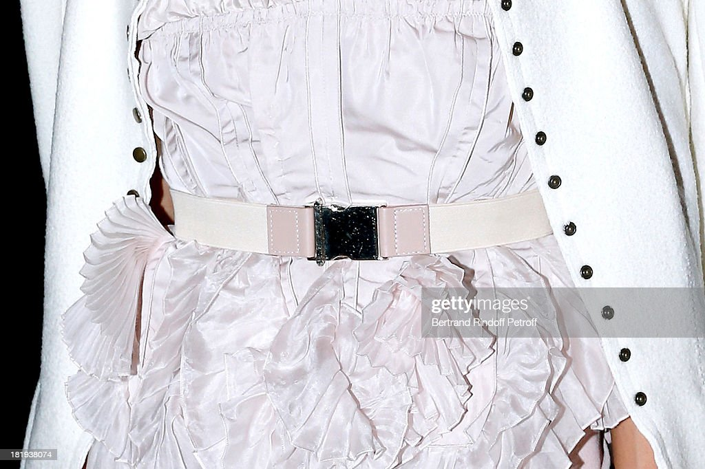 Actress <a gi-track='captionPersonalityLinkClicked' href=/galleries/search?phrase=Olivia+Palermo&family=editorial&specificpeople=2639086 ng-click='$event.stopPropagation()'>Olivia Palermo</a> (belt detail) dressed in Nina Ricci attends Nina Ricci show as part of the Paris Fashion Week Womenswear Spring/Summer 2014, held at Garden of Tuilleries on September 26, 2013 in Paris, France.