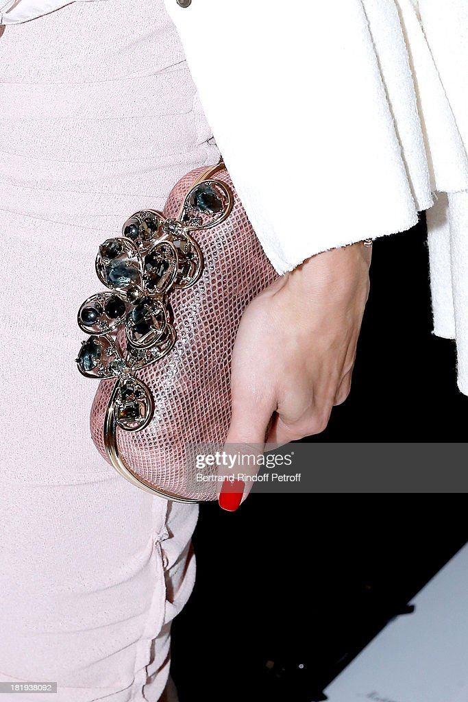 Actress Olivia Palermo (clutch bag detail) dressed in Nina Ricci attends Nina Ricci show as part of the Paris Fashion Week Womenswear Spring/Summer 2014, held at Garden of Tuilleries on September 26, 2013 in Paris, France.