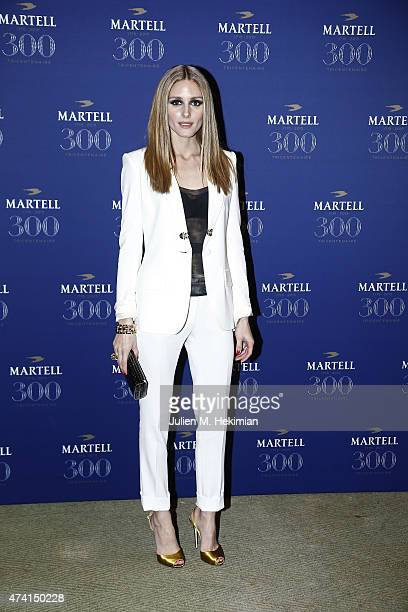 Actress Olivia Palermo is pictured arriving at Martell Cognac's 300th anniversary event at the iconic Palace of Versailles on May 20 2015 in...