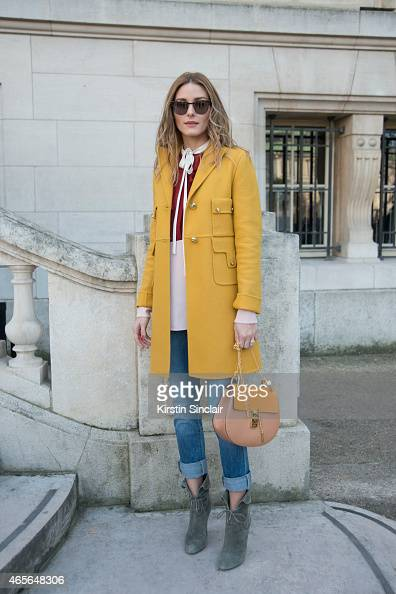 Actress Olivia Palermo wears a Chloe shirt jacket and bag at the Chloe show on day 6 of Paris Collections Women on March 08 2015 in Paris France