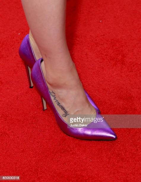 Actress Olivia Taylor Dudley shoe detail attends Universal Cable Productions Annual ComicCon Celebration at Omnia Nightclub on July 21 2017 in San...