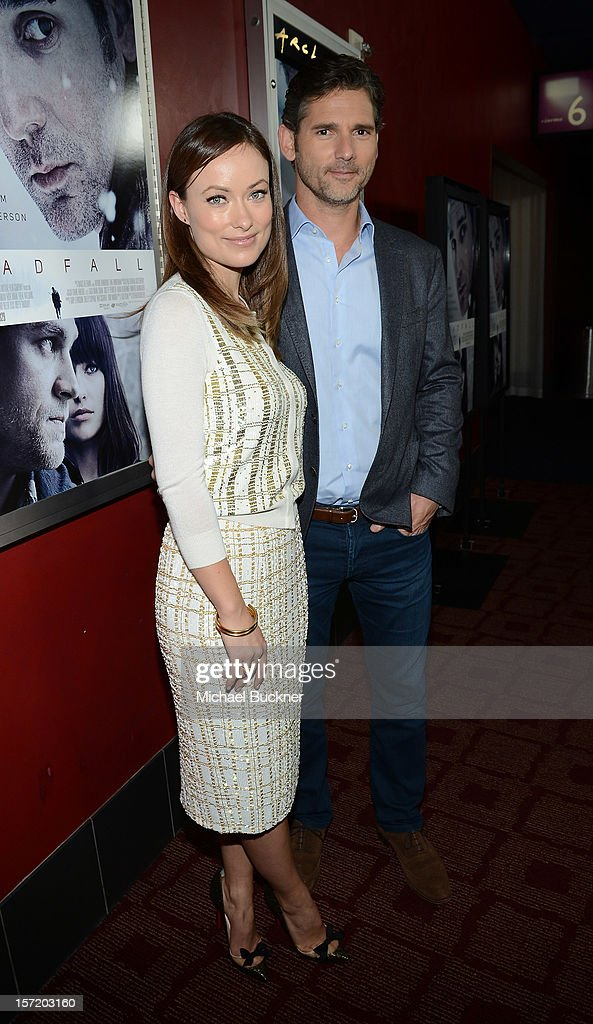 Actress <a gi-track='captionPersonalityLinkClicked' href=/galleries/search?phrase=Olivia+Wilde&family=editorial&specificpeople=235399 ng-click='$event.stopPropagation()'>Olivia Wilde</a> (L) and actor <a gi-track='captionPersonalityLinkClicked' href=/galleries/search?phrase=Eric+Bana&family=editorial&specificpeople=202104 ng-click='$event.stopPropagation()'>Eric Bana</a> attends the premiere of Magnolia Pictures' 'Deadfall' at the at the ArcLight Cinemas on November 29, 2012 in Hollywood, California.