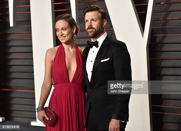 Actress Olivia Wilde and actor Jason Sudeikis arrive at the 2016 Vanity Fair Oscar Party Hosted By Graydon Carter at Wallis Annenberg Center for the...