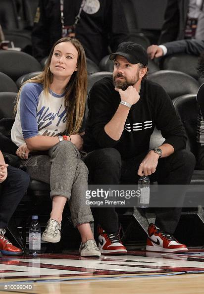 Actress Olivia Wilde and actor Jason Sudeikis attend the 2016 NBA AllStar Saturday Night at Air Canada Centre on February 13 2016 in Toronto Canada