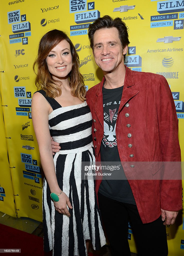 Actress <a gi-track='captionPersonalityLinkClicked' href=/galleries/search?phrase=Olivia+Wilde&family=editorial&specificpeople=235399 ng-click='$event.stopPropagation()'>Olivia Wilde</a> (L) and actor <a gi-track='captionPersonalityLinkClicked' href=/galleries/search?phrase=Jim+Carrey&family=editorial&specificpeople=171515 ng-click='$event.stopPropagation()'>Jim Carrey</a> arrive at the screening of 'The Incredible Burt Wonderstone' during the 2013 SXSW Music, Film + Interactive Festival at the Paramount Theatre on March 8, 2013 in Austin, Texas.