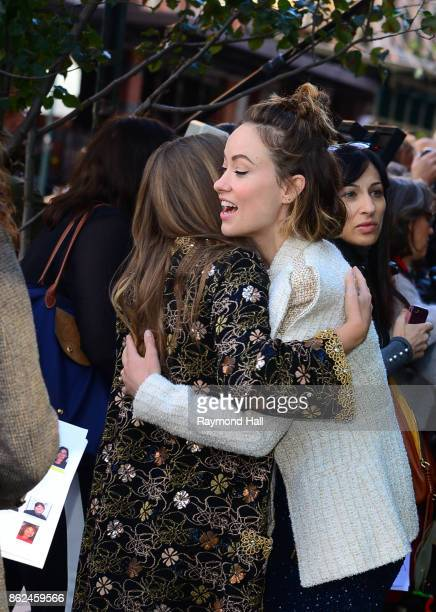 Actress Olivia Wilde and Elizabeth Olsen are seen outside 'The Tribeca Chanel Womens Filmmarker Progam Lunchon' on October 17 2017 in New York City