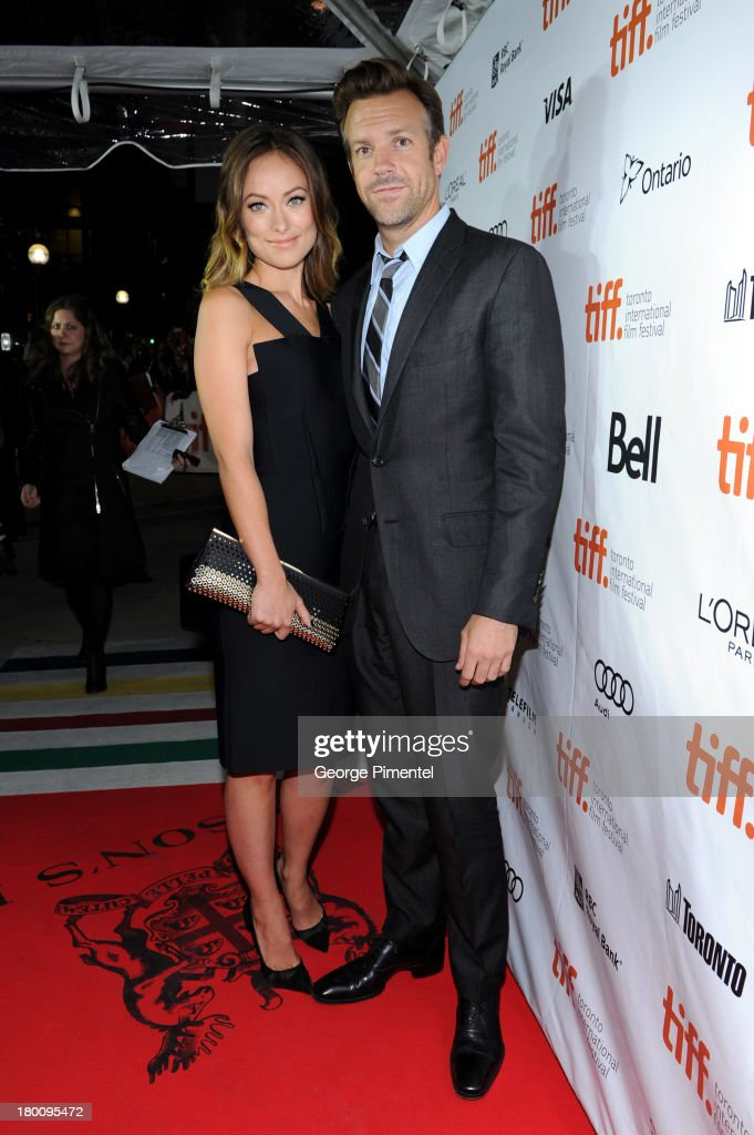 Actress <a gi-track='captionPersonalityLinkClicked' href=/galleries/search?phrase=Olivia+Wilde&family=editorial&specificpeople=235399 ng-click='$event.stopPropagation()'>Olivia Wilde</a> (L) and <a gi-track='captionPersonalityLinkClicked' href=/galleries/search?phrase=Jason+Sudeikis&family=editorial&specificpeople=4232997 ng-click='$event.stopPropagation()'>Jason Sudeikis</a> attend the 'Rush' premiere during the 2013 Toronto International Film Festival at Roy Thomson Hall on September 8, 2013 in Toronto, Canada.