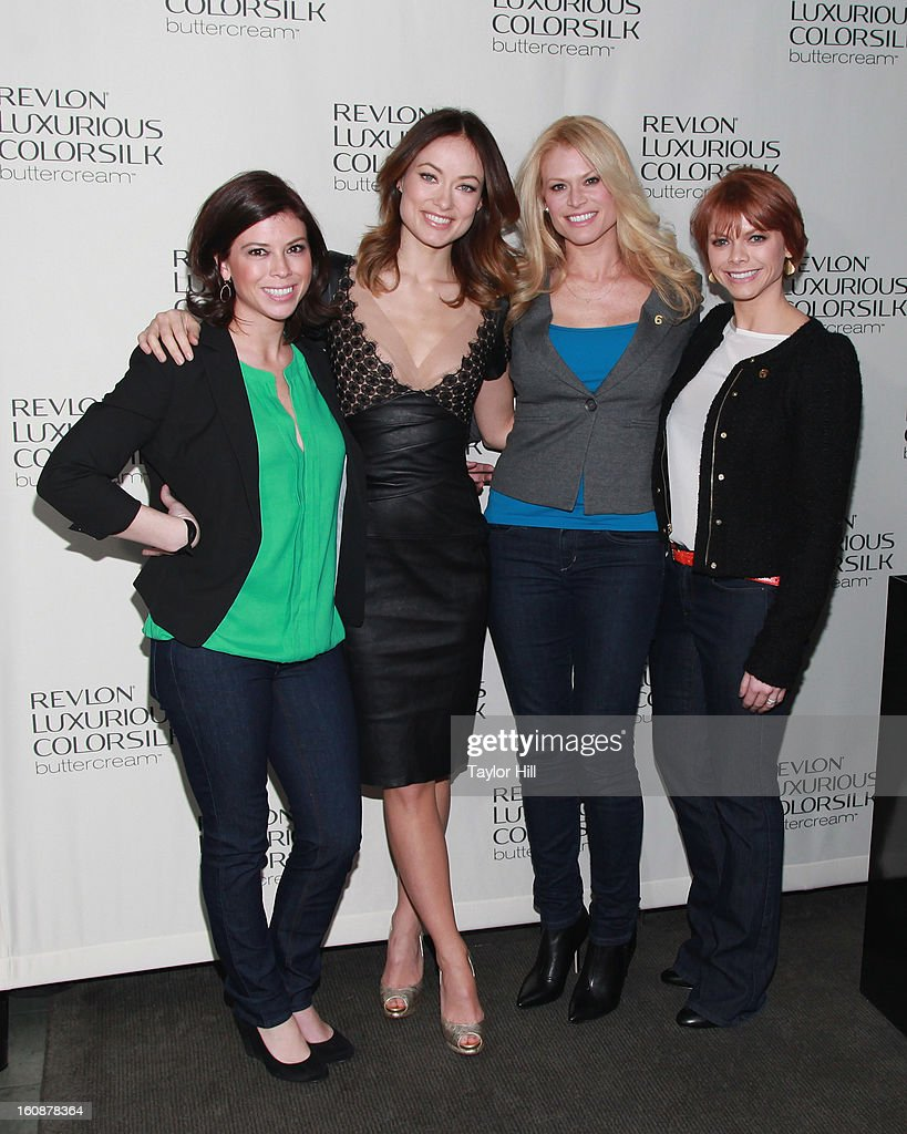 Actress Olivia Wilde and the Smith sisters attend the Revlon Luxurious ColorSilk Buttercream Launch Hosted By Olivia Wilde at The Royalton Hotel on February 7, 2013 in New York City.