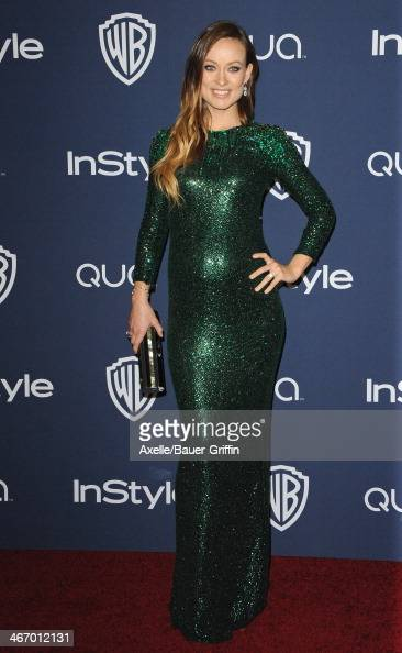 Actress Olivia Wilde arrives at the 2014 InStyle And Warner Bros 71st Annual Golden Globe Awards PostParty at The Beverly Hilton Hotel on January 12...