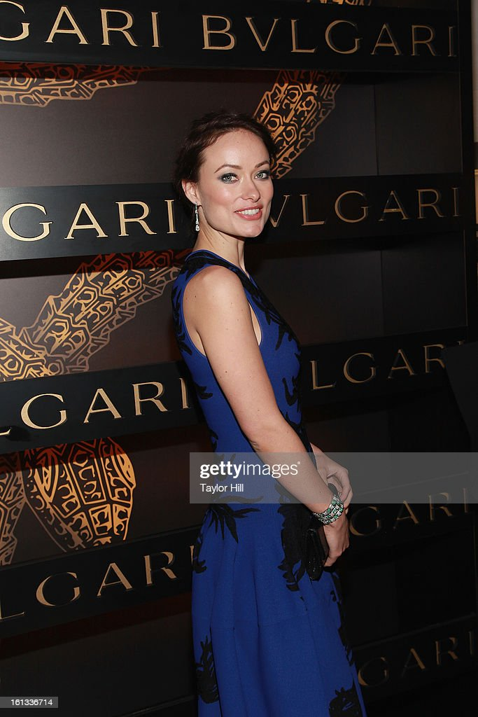 Actress <a gi-track='captionPersonalityLinkClicked' href=/galleries/search?phrase=Olivia+Wilde&family=editorial&specificpeople=235399 ng-click='$event.stopPropagation()'>Olivia Wilde</a> attends Bulgari Celebrates Icons Of Style: The Serpenti during Fall 2013 Fashion Week at Bulgari Fifth Avenue on February 9, 2013 in New York City.