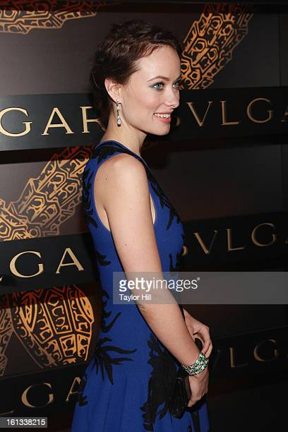 Actress Olivia Wilde attends Bulgari Celebrates Icons Of Style The Serpenti during Fall 2013 Fashion Week at Bulgari Fifth Avenue on February 9 2013...