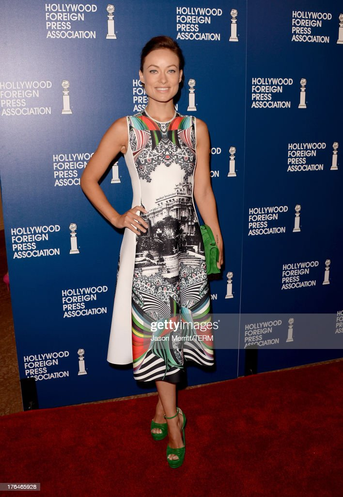 Actress <a gi-track='captionPersonalityLinkClicked' href=/galleries/search?phrase=Olivia+Wilde&family=editorial&specificpeople=235399 ng-click='$event.stopPropagation()'>Olivia Wilde</a> attends Hollywood Foreign Press Association's 2013 Installation Luncheon at The Beverly Hilton Hotel on August 13, 2013 in Beverly Hills, California.