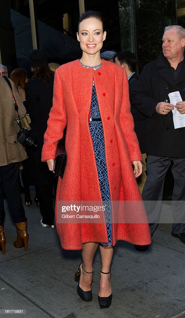 Actress <a gi-track='captionPersonalityLinkClicked' href=/galleries/search?phrase=Olivia+Wilde&family=editorial&specificpeople=235399 ng-click='$event.stopPropagation()'>Olivia Wilde</a> attends the Calvin Klein Collection 2013 Mercedes-Benz Fashion Show at 205 West 39th Street on February 14, 2013 in New York City.
