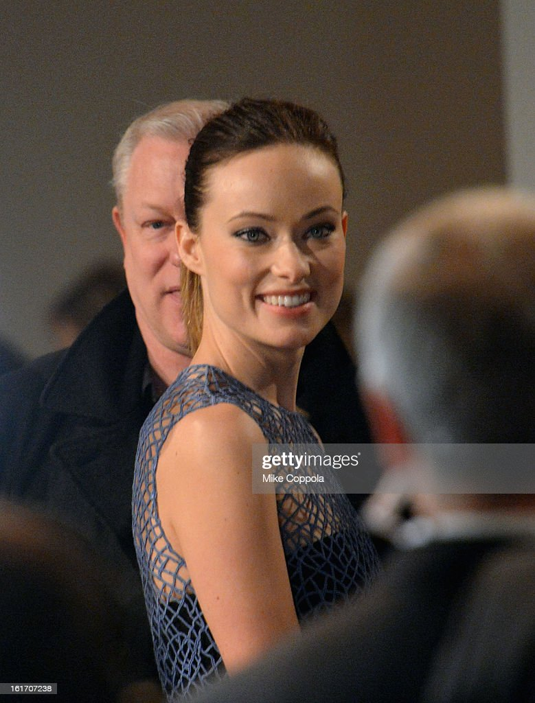 Actress <a gi-track='captionPersonalityLinkClicked' href=/galleries/search?phrase=Olivia+Wilde&family=editorial&specificpeople=235399 ng-click='$event.stopPropagation()'>Olivia Wilde</a> attends the Calvin Klein Collection Fall 2013 fashion show during Mercedes-Benz Fashion Week at 205 West 39th Street on February 14, 2013 in New York City.