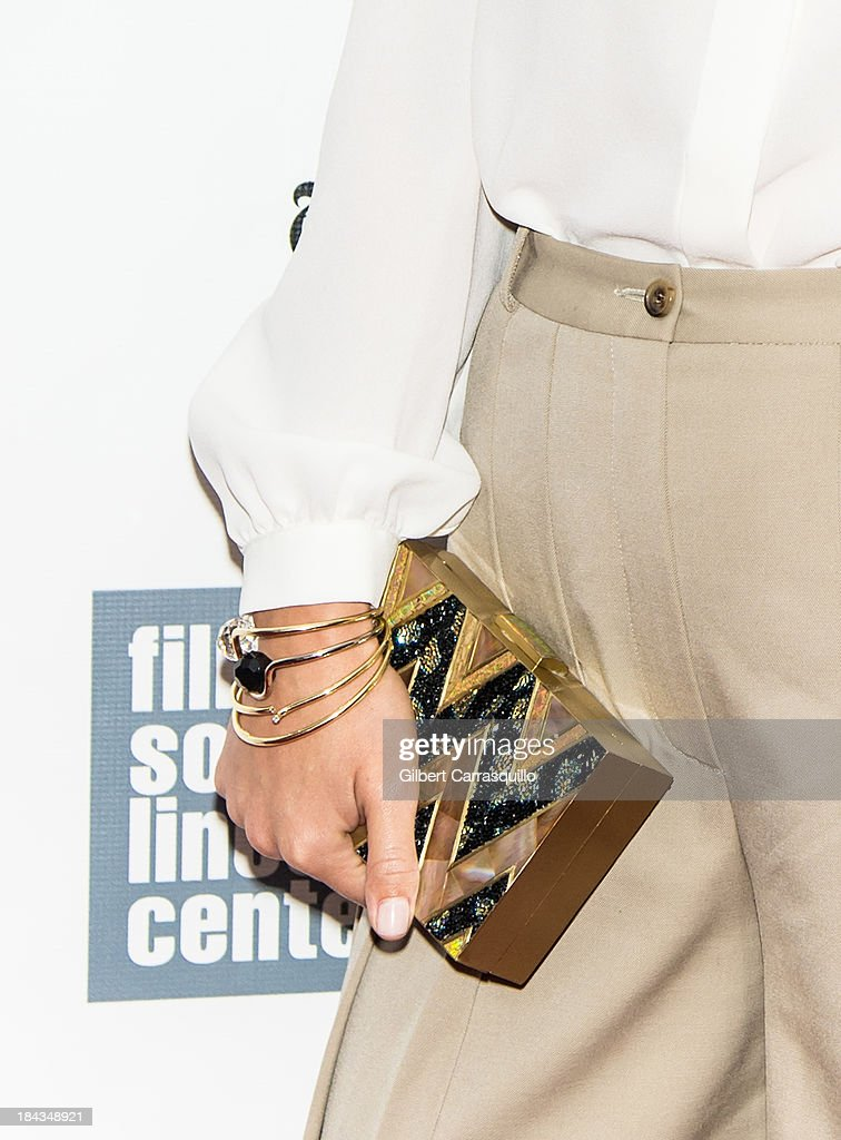 Actress <a gi-track='captionPersonalityLinkClicked' href=/galleries/search?phrase=Olivia+Wilde&family=editorial&specificpeople=235399 ng-click='$event.stopPropagation()'>Olivia Wilde</a> (purse detail) attends the Closing Night Gala Presentation Of 'Her' during the 51st New York Film Festival at Alice Tully Hall at Lincoln Center on October 12, 2013 in New York City.