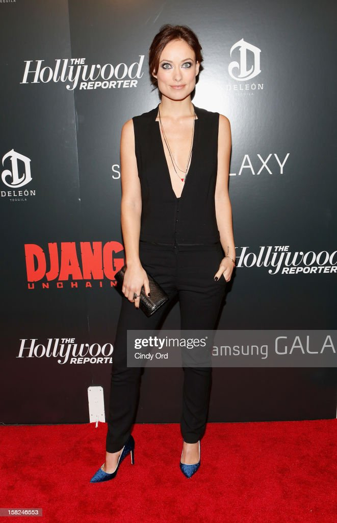 Actress <a gi-track='captionPersonalityLinkClicked' href=/galleries/search?phrase=Olivia+Wilde&family=editorial&specificpeople=235399 ng-click='$event.stopPropagation()'>Olivia Wilde</a> attends the Django Unchained NY premiere at Ziegfeld Theatre on December 11, 2012 in New York City.