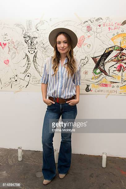 Actress Olivia Wilde attends the launch of a new music video for Edward Sharpe and the Magnetic Zeros directed by Olivia Wilde on March 9 2016 in Los...