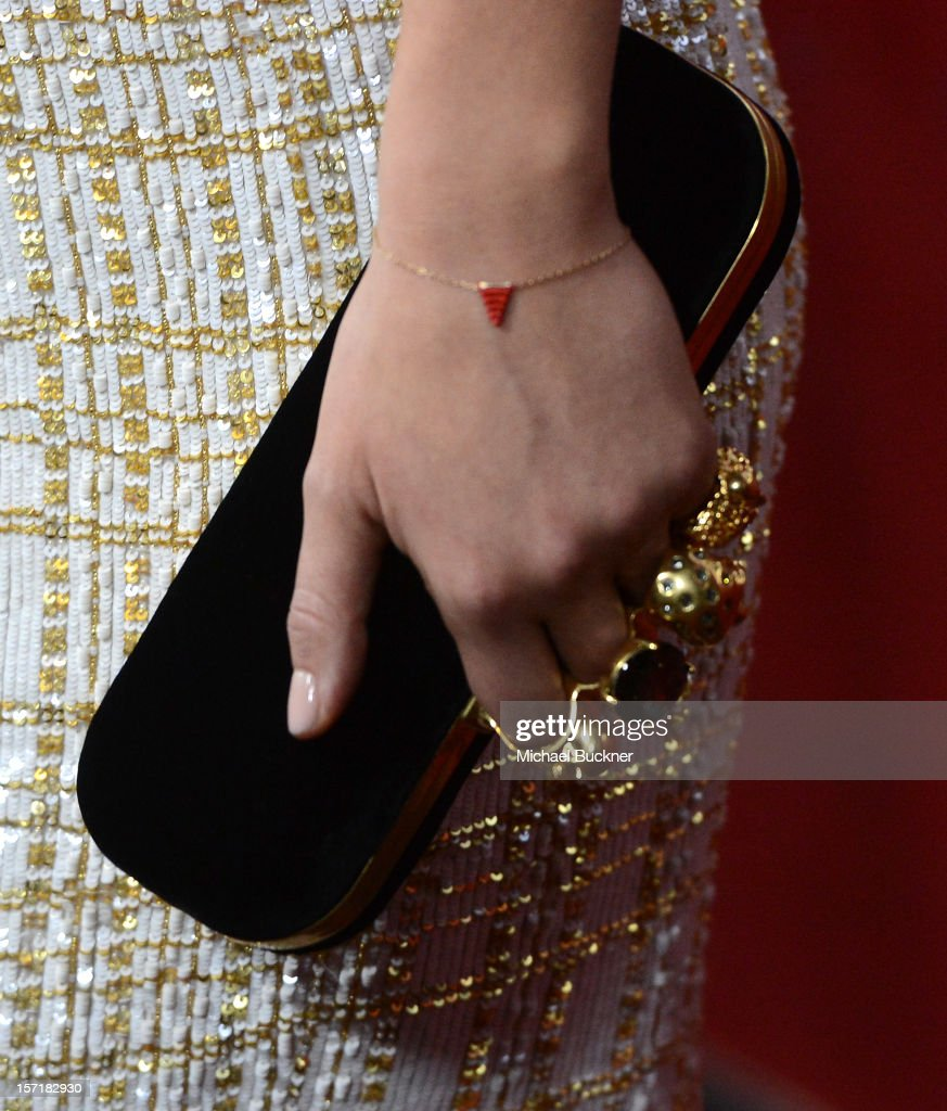 Actress Olivia Wilde (accessories detail) attends the premiere of Magnolia Pictures' 'Deadfall' at the at the ArcLight Cinemas on November 29, 2012 in Hollywood, California.