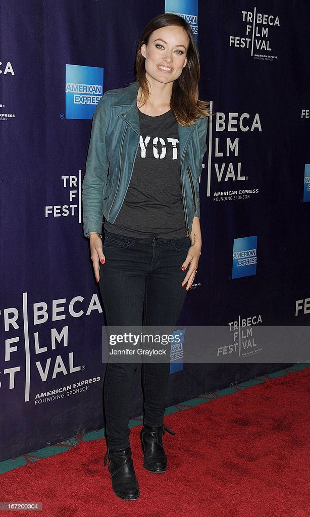Actress <a gi-track='captionPersonalityLinkClicked' href=/galleries/search?phrase=Olivia+Wilde&family=editorial&specificpeople=235399 ng-click='$event.stopPropagation()'>Olivia Wilde</a> attends 'The Rider And The Storm' Screening during the Shorts Program at the 2013 Tribeca Film Festival on April 22, 2013 in New York City.