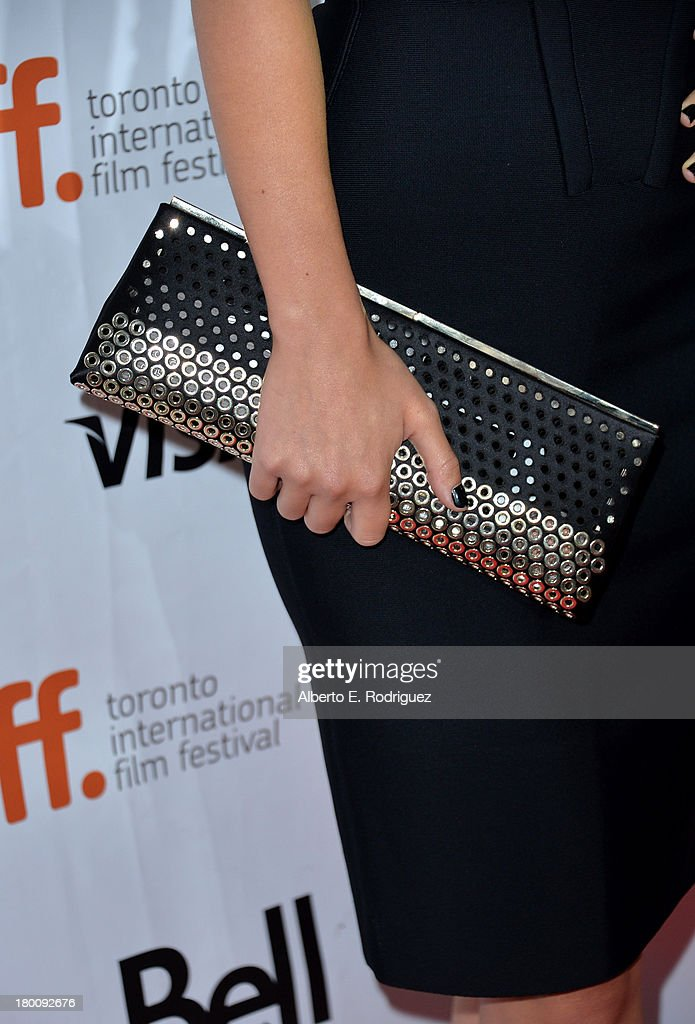 Actress Olivia Wilde (purse detail) attends the 'Rush' premiere during the 2013 Toronto International Film Festival at Roy Thomson Hall on September 8, 2013 in Toronto, Canada.
