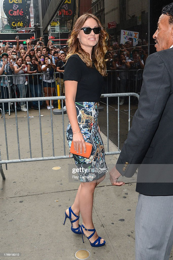 Actress Olivia Wilde enters the 'Good Morning America' taping at the ABC Times Square Studios on August 19, 2013 in New York City.
