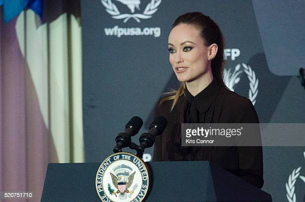 Actress Olivia Wilde speaks during the World Food Program USA's 2016 McGovernDole Leadership Award Ceremony at the Organization of American States on...