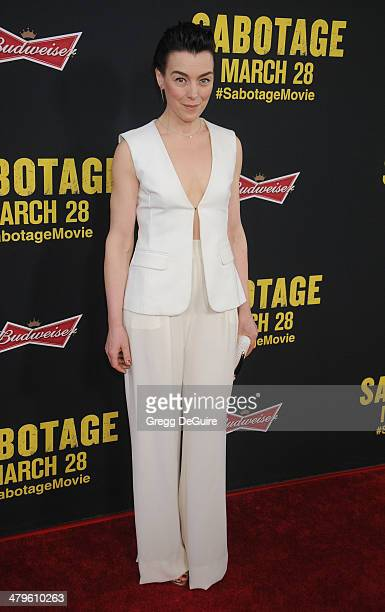 Actress Olivia Williams arrives at the Los Angeles premiere of 'Sabotage' at Regal Cinemas LA Live on March 19 2014 in Los Angeles California