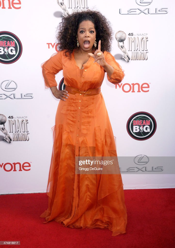 Actress Oprah Winfrey arrives at the 45th NAACP Image Awards at Pasadena Civic Auditorium on February 22, 2014 in Pasadena, California.