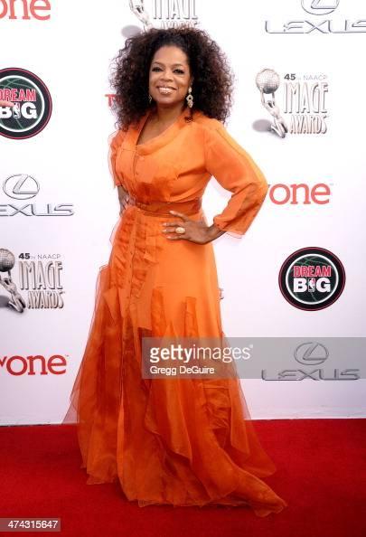 Actress Oprah Winfrey arrives at the 45th NAACP Image Awards at Pasadena Civic Auditorium on February 22 2014 in Pasadena California