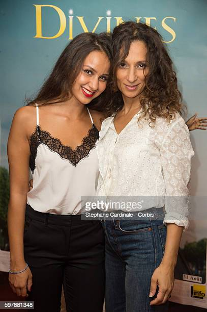 Actress Oulaya Amamra and Director Houda Benyamina attend the 'Divines' Paris Premiere at UGC Cine Cite des Halles on August 29 2016 in Paris France