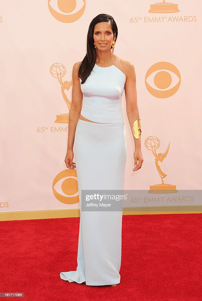 Actress Padma Lakshmi arrives at the 65th Annual Primetime Emmy Awards at Nokia Theatre L.A. Live on September 22, 2013 in Los Angeles, California.