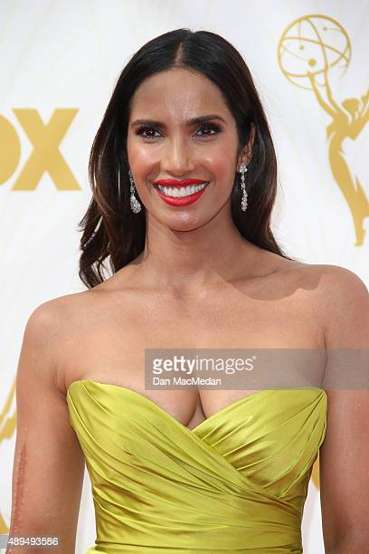 Actress Padma Lakshmi arrives at the 67th Annual Primetime Emmy Awards at the Microsoft Theater on September 20 2015 in Los Angeles California