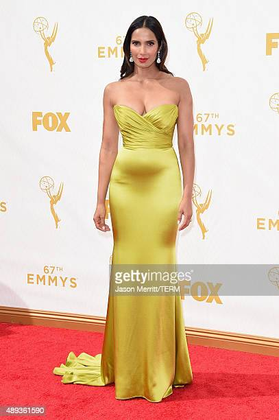 Actress Padma Lakshmi attends the 67th Annual Primetime Emmy Awards at Microsoft Theater on September 20 2015 in Los Angeles California