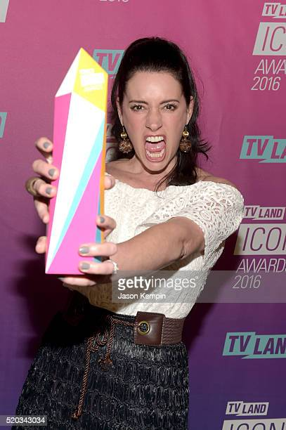 Actress Paget Brewster poses with an Icon Award backstage at 2016 TV Land Icon Awards at The Barker Hanger on April 10 2016 in Santa Monica California